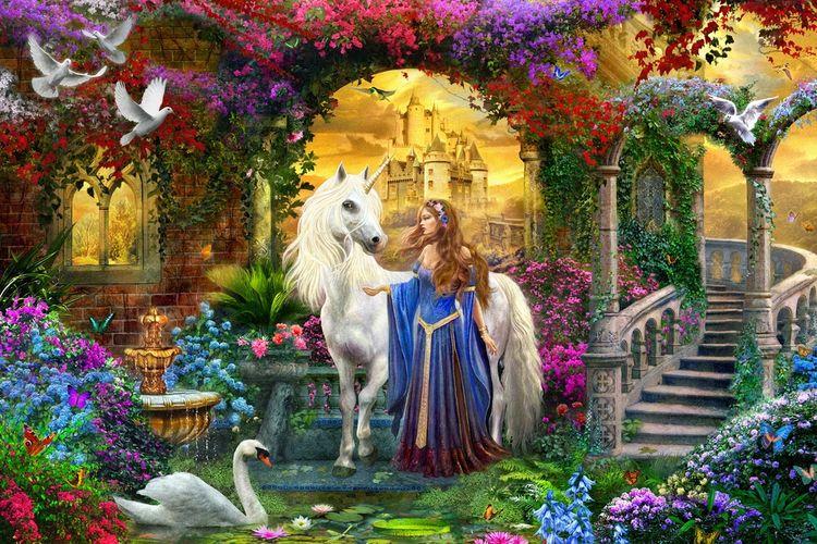 3D фотообои 5D картина «Единорог принцессы» вид 1