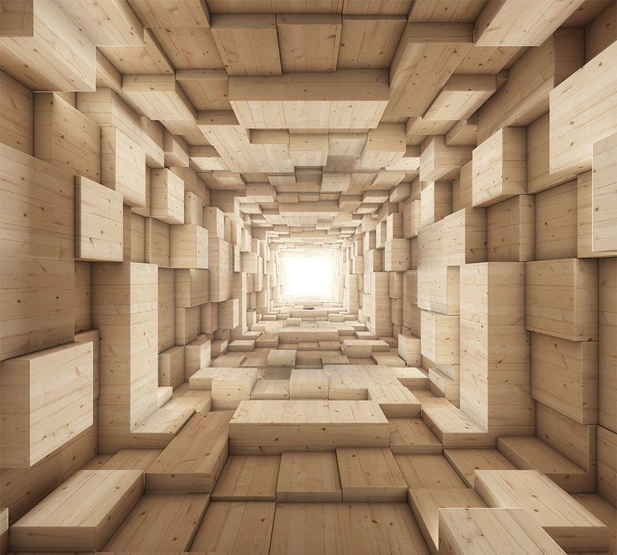 Фотошторы Тоннель из древесных кубов<br>kit: None; gender: None;