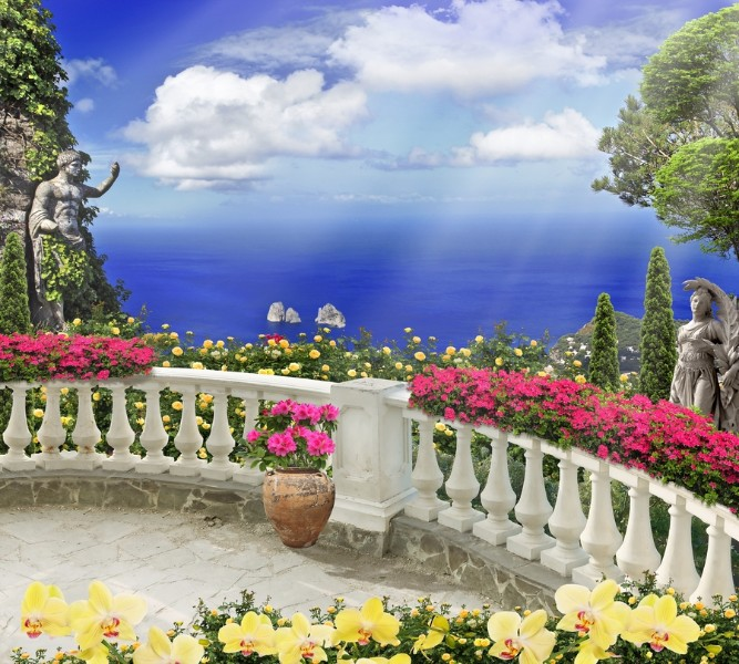 Фотошторы Античный балкон с видом на синий океан<br>kit: None; gender: None;