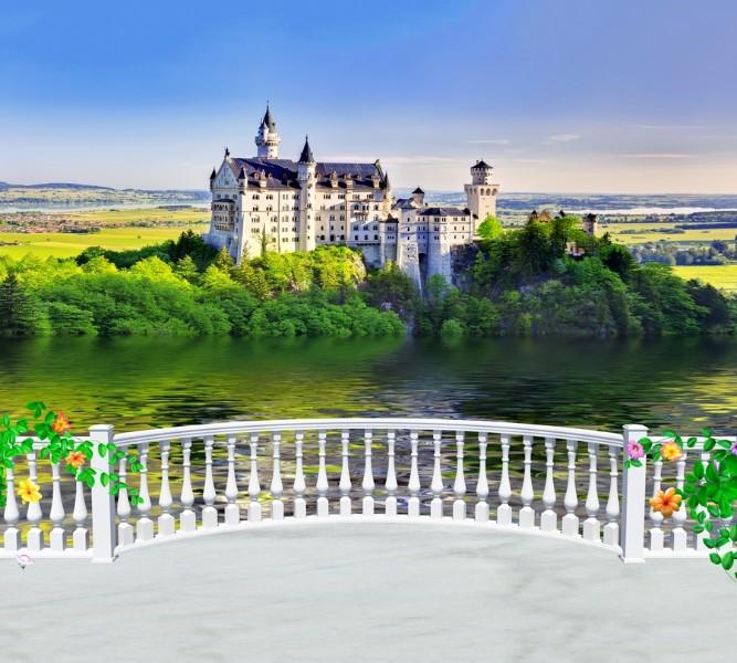Фотошторы Балкон с видом на замок<br>kit: None; gender: None;