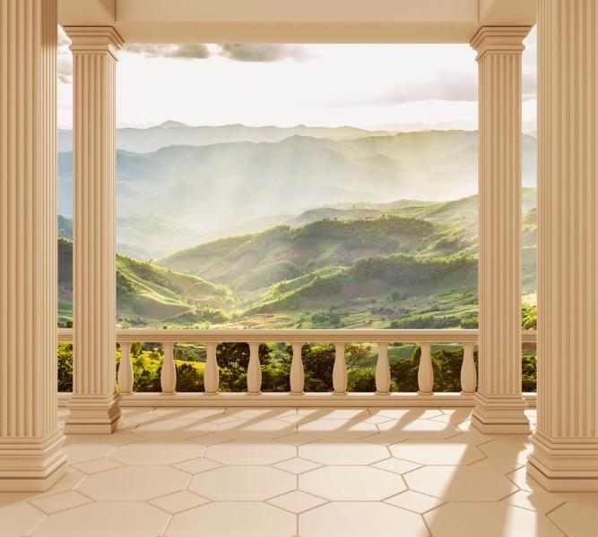 Фотошторы Балкон с видом на солнечную долину<br>kit: None; gender: None;