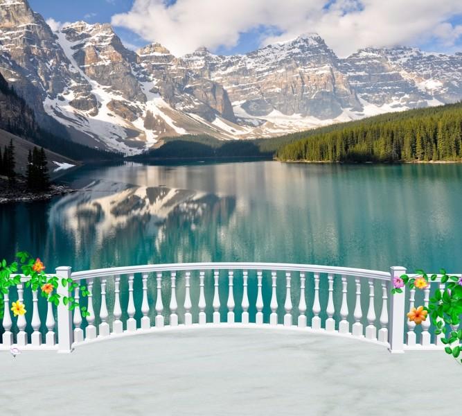 Фотошторы Вид с балкона на горное озеро<br>kit: None; gender: None;