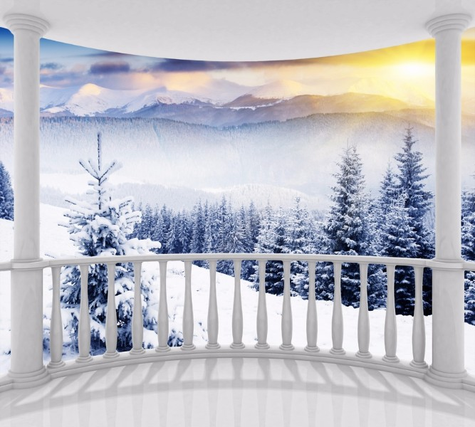 Фотошторы Вид с балкона на зимний лес<br>kit: None; gender: None;