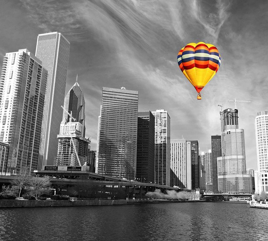 Фотошторы Воздушный шар в мегаполисе<br>kit: None; gender: None;