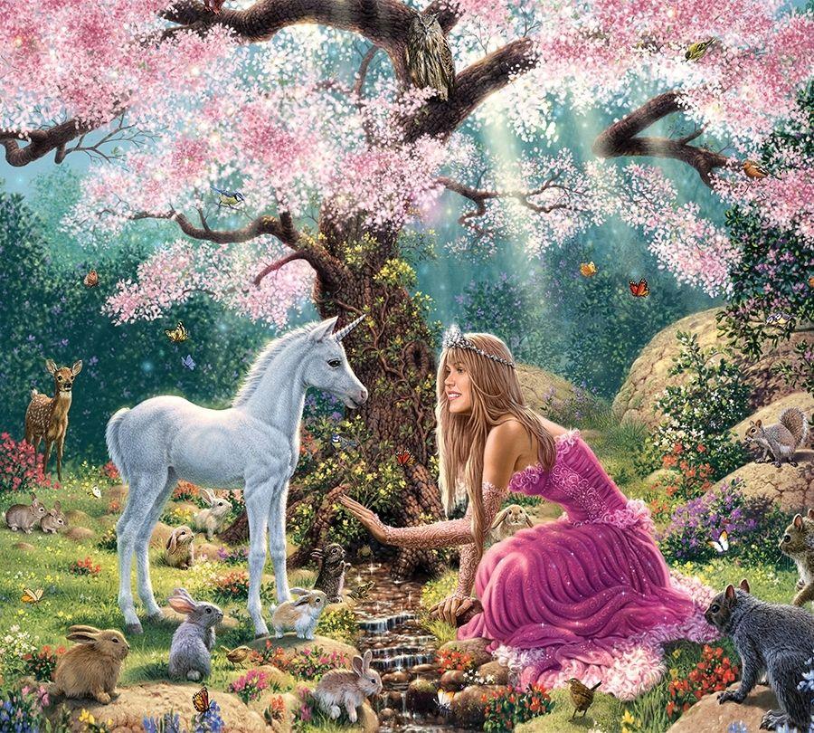 Детские Фотошторы Принцесса в цветущем саду<br>kit: None; gender: None;