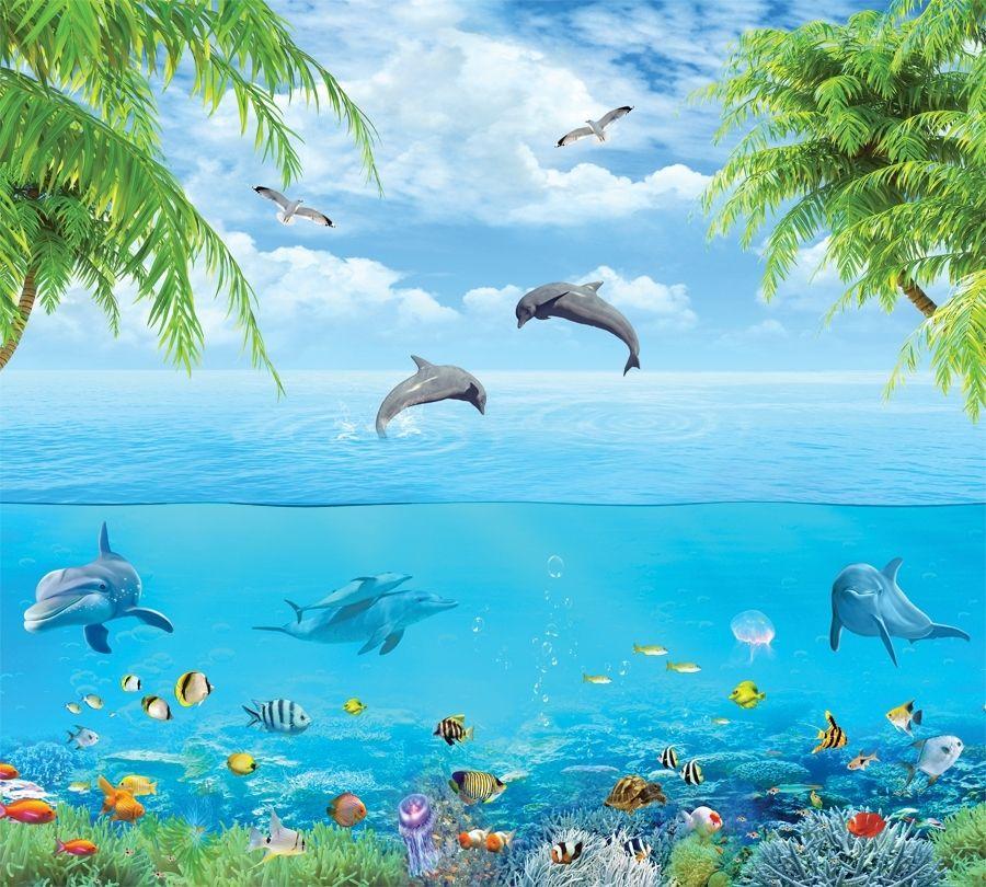 3D фотообои Фотошторы «Дельфины над водой» вид 1