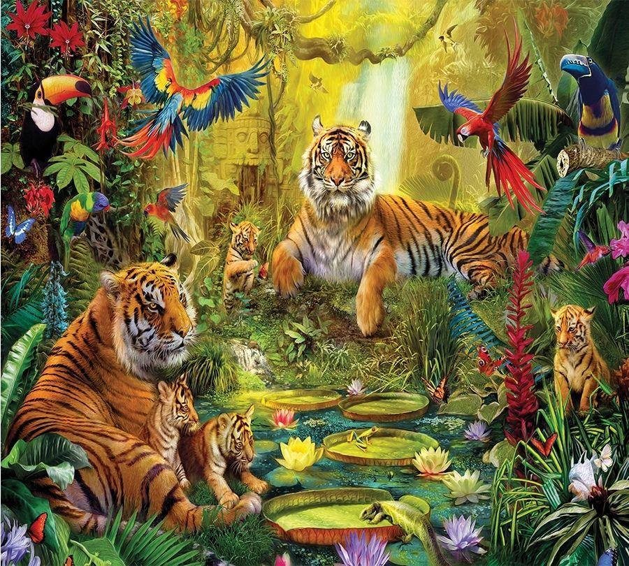 Детские Фотошторы Сказочные тигры<br>kit: None; gender: None;
