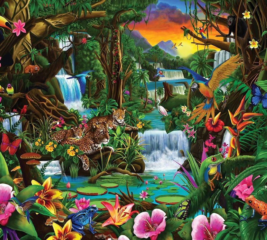 Детские Фотошторы  Тропический цветочный лес<br>kit: None; gender: None;