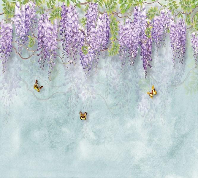 3D фотообои Фотошторы «Сирень с бабочками» вид 1