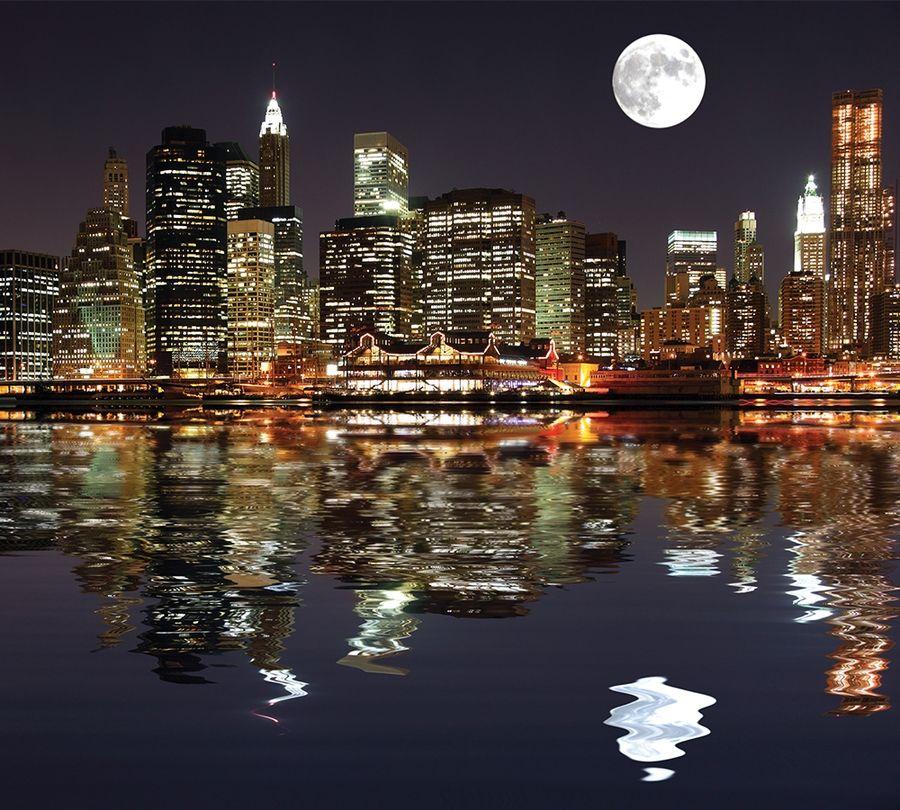 Фотошторы Луна над ночным городом<br>kit: None; gender: None;