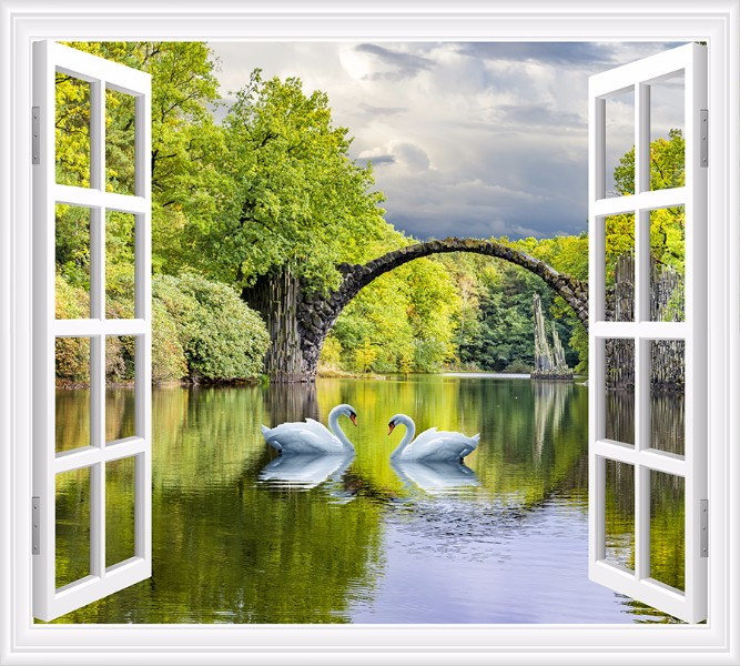 Фотошторы Вид на озеро с лебедями<br>kit: None; gender: None;