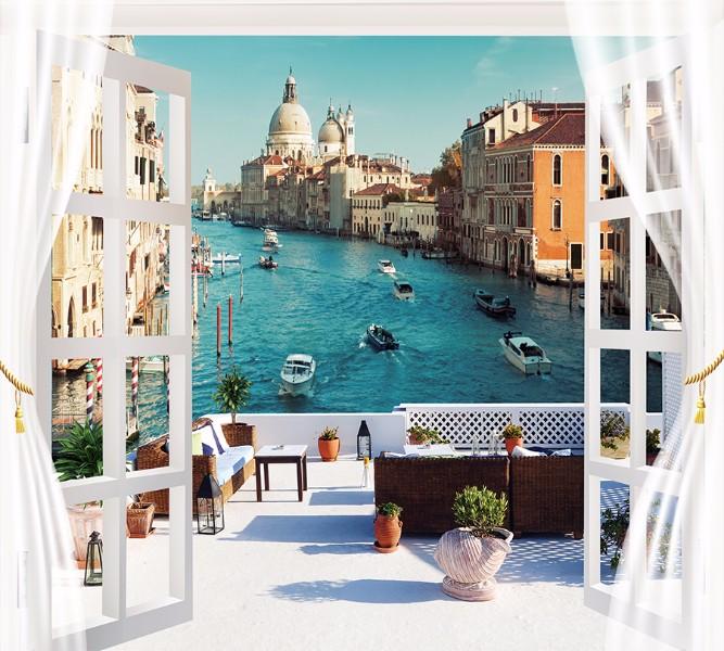 Фотошторы Окно-балкон в Венеции<br>kit: None; gender: None;