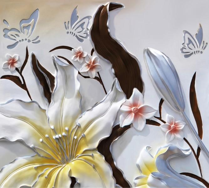 Фотошторы Объемные цветы с бабочками<br>kit: None; gender: None;