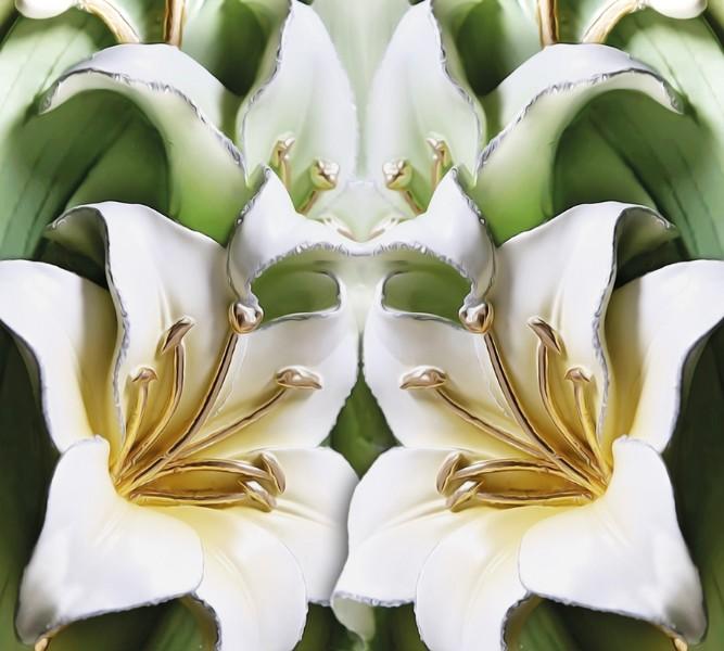 Фотошторы Зеленые лилии из керамики<br>kit: None; gender: None;