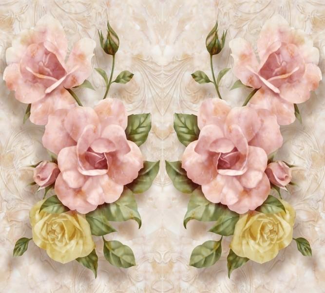 Фотошторы «Объемные розы под мрамор» вид 1