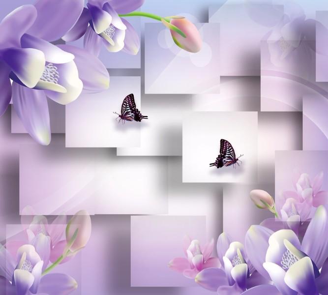 Фотошторы Сиреневые цветы с бабочкамиКомпозиция является ярким примером эффективного использования современных приёмов в дизайне. Рисунок объединяет сложные геометрические узоры и природные мотивы: среди мира прямых форм, к которому мы так привыкли в нашей повседневной жизни, всегда есть место естественной красоте и изяществу флоры и фауны. Цветы и бабочки, едва прикасаясь к белому, тут же наполняют его жизнью и цветом, создавая в доме уютную атмосферу.&amp;nbsp;<br>kit: None; gender: None;