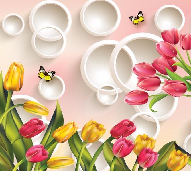 Фотошторы Желтые тюльпаны с красными<br>kit: None; gender: None;