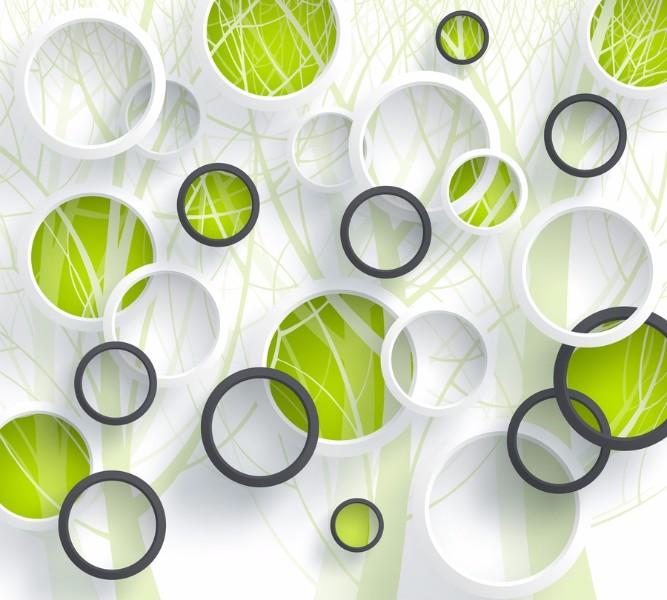 Фотошторы Объемные зеленые круги<br>kit: None; gender: None;