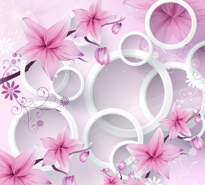 Фотошторы Яркие розовые цветы с объемными кругами<br>kit: None; gender: None;