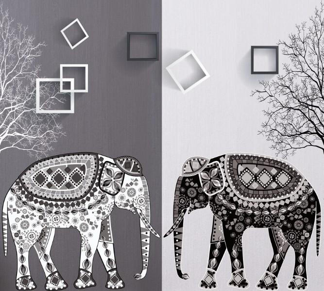 Фотошторы Слоны в стиле модерн<br>kit: None; gender: None;