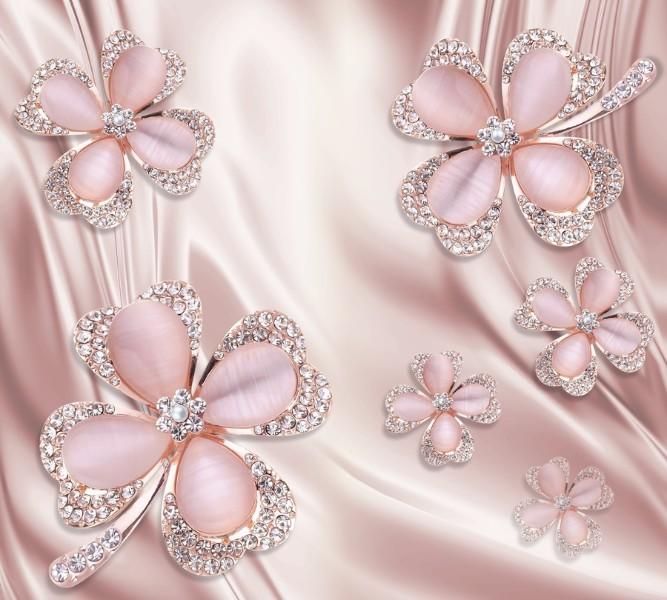 Фотошторы &amp;quotКлевер с бриллиантами в нежно-розовых тонах&amp;quot<br>kit: None; gender: None;