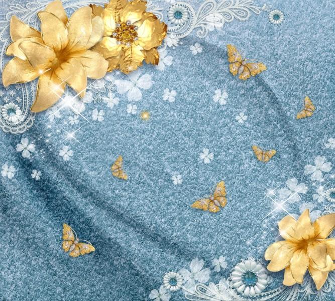 Фотошторы &amp;quotЗолотые цветы с бабочками на голубой ткани&amp;quot<br>kit: None; gender: None;