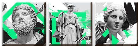Модульная картина Античные скульптуры в современной обработке<br>kit: None; gender: None;