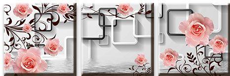 Модульная картина Светлые розы над водой<br>kit: None; gender: None;