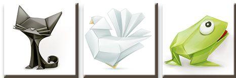 Модульная картина Зверушки оригами<br>kit: None; gender: None;