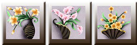 Модульная картина Коллекция ваз с цветами<br>kit: None; gender: None;