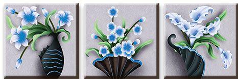 Модульная картина Голубые цветы<br>kit: None; gender: None;