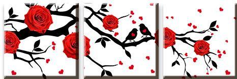 Модульная картина Красные розы на ветке дерева с птицами<br>kit: None; gender: None;