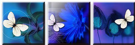Модульная картина Белая бабочка с синим цветком<br>kit: None; gender: None;
