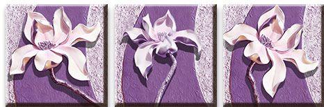 Модульная картина Фиолетовые магнолии на рельефном фоне<br>kit: None; gender: None;