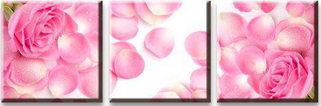 Модульная картина Розовые розы в лепестках<br>kit: None; gender: None;