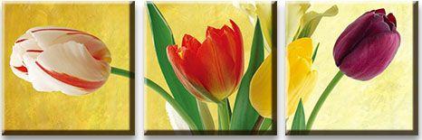 Модульная картина Тюльпаны на желтом фоне<br>kit: None; gender: None;