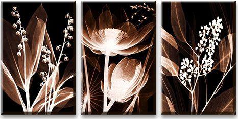 Модульная картина Светящиеся цветы<br>kit: None; gender: None;