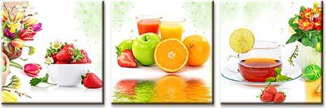 Модульная картина Свежие фрукты с кружкой чая и бокалами сока<br>kit: None; gender: None;