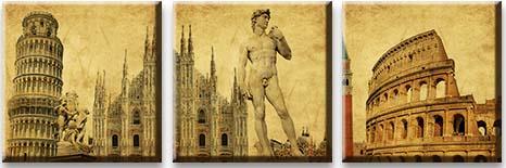 Модульная картина Достопримечательности Италии<br>kit: None; gender: None;