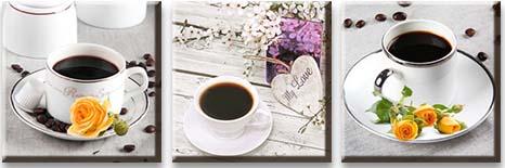 Модульная картина Чашка кофе и желтые розы<br>kit: None; gender: None;