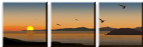 Модульная картина Закат у берега моря<br>kit: None; gender: None;