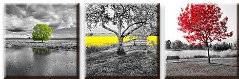 Модульная картина Одинокие деревья с цветовым акцентом<br>kit: None; gender: None;