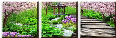 Модульная картина Мостик в японском саду<br>kit: None; gender: None;