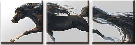 Модульная картина Черный конь в прыжке<br>kit: None; gender: None;