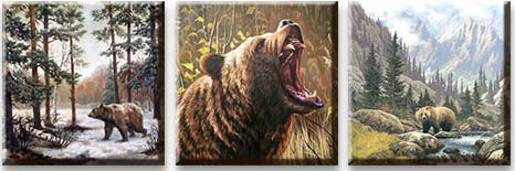Модульная картина Бурые медведи<br>kit: None; gender: None;