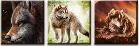 Модульная картина Сказочные волки<br>kit: None; gender: None;