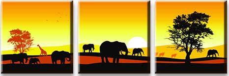 Модульная картина Семейство слонов<br>kit: None; gender: None;