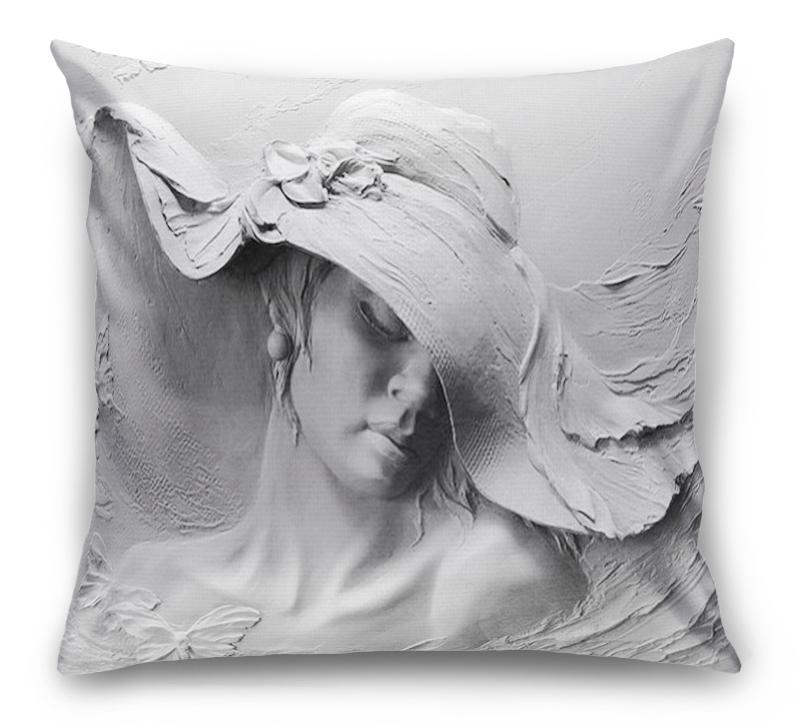 3D Подушка «Барельеф женщина в шляпе» вид 1