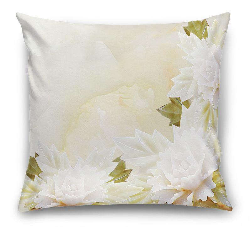 3D Подушка «Мраморные цветы»                                             вид 1