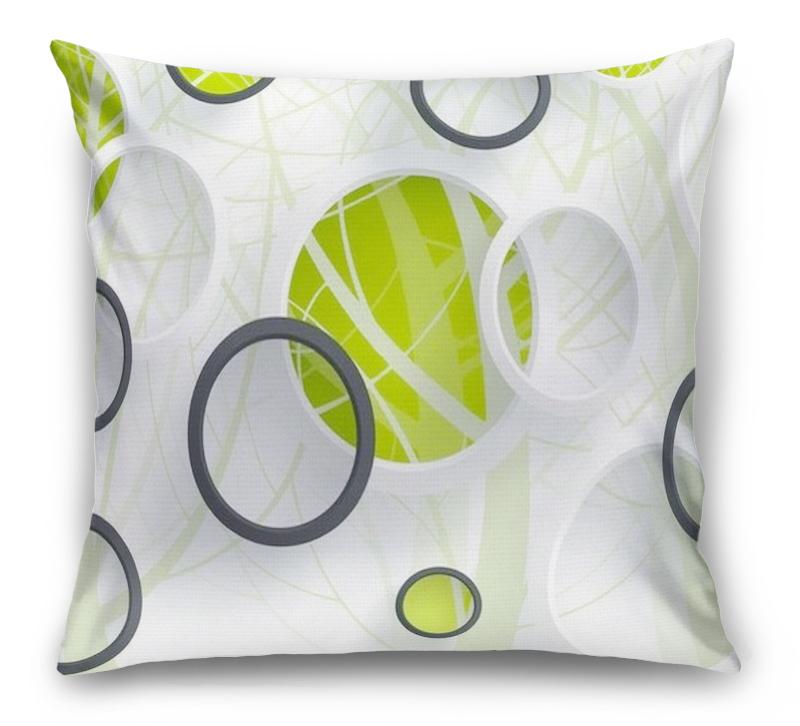 3D Подушка «Объемные зеленые круги» вид 1